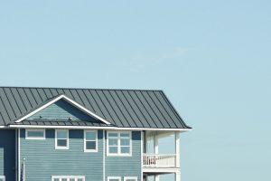 blue house on beach